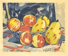 Zátiší s jablky a hruškami