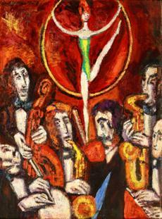 Artistka a šest muzikantů
