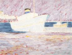 Bílá loď v přístavu Pireus