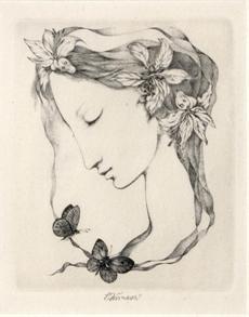Dívčí profil s motýly
