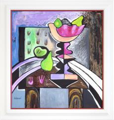 Zátiší s růžovou mísou na ovoce