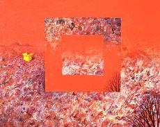 Podzimní krajina se žlutou krabicí